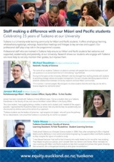 "Thumbnail of our ""Staff making a difference with our Māori and Pacific students"" A2 poster"