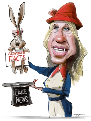 Illustration of female magician pulling a rabbit holding a sign saying Alternative Facts from a black top hat labelled Fake News.