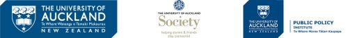 Logos of the University of Auckland, University of Auckland Society, and Public Policy Institute