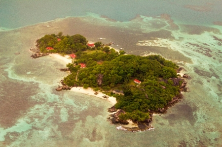 Aerial photo of a small island in the Seychelles.