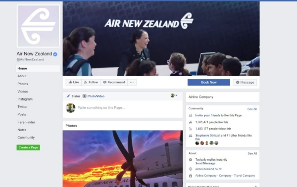 AirNZ Facebook fan page screenshot, November 2017