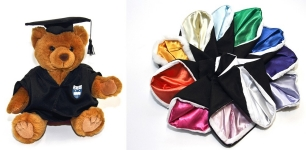 Teddy bear in graduation robes available at the Campus Store.