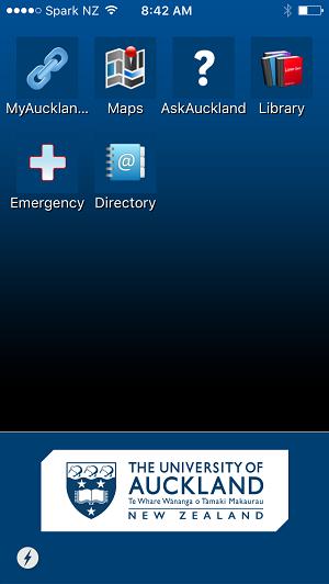 AucklandUni mobile app screen