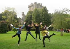Students jumping on exchange