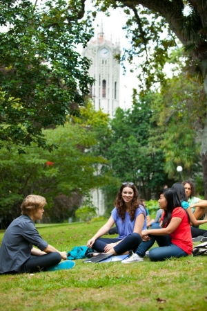 Students-relaxing-near-the-ClockTower