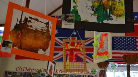 Flags and Art works of the kids in the early childhood centre